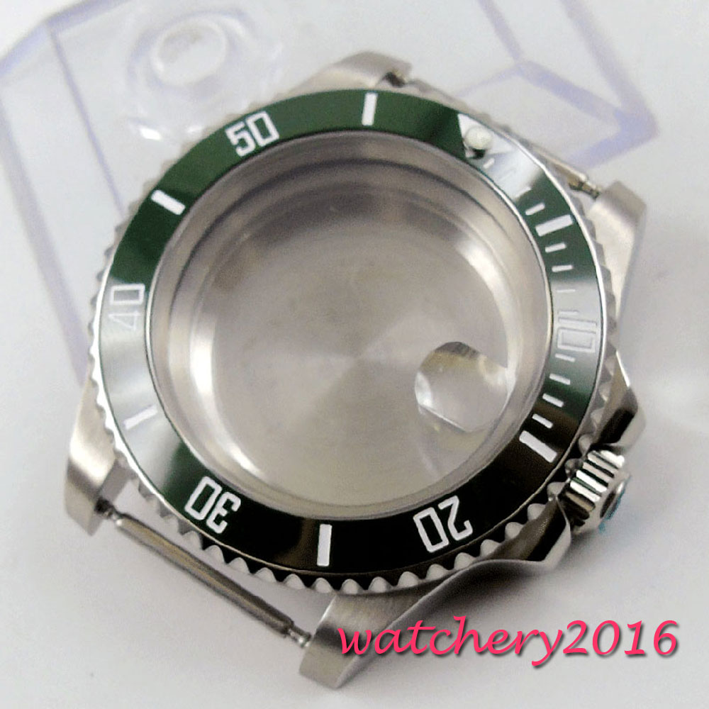 NEW 40mm Sapphire Glass Green ceramic bezel Watch Case fit 8205 8215 821A 2836 MovementNEW 40mm Sapphire Glass Green ceramic bezel Watch Case fit 8205 8215 821A 2836 Movement