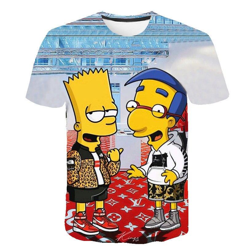 Mode o-cou à manches courtes hommes hauts T-shirt mode été 3D impression dessin animé motif T-shirt décontracté dessus respirants te