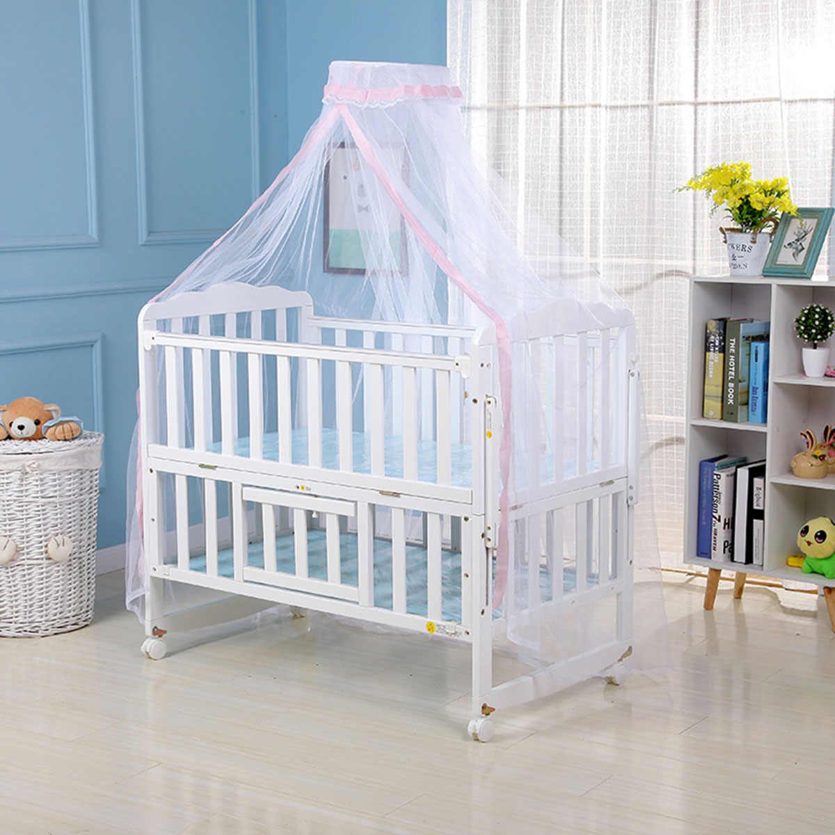 1* Mosquito Net Hot Selling Baby Bed Mosquito Net Mesh Dome Curtain Net for Toddler Crib Cot Canopy 2019 Blue Pink Yellow Color