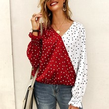 2019 New Arrival Women Long Sleeve T Shirt Fashion Polka Dot V-Neck Tshirt Autumn Loose Tops Woman T-shirt Tees Tops Mujer цены