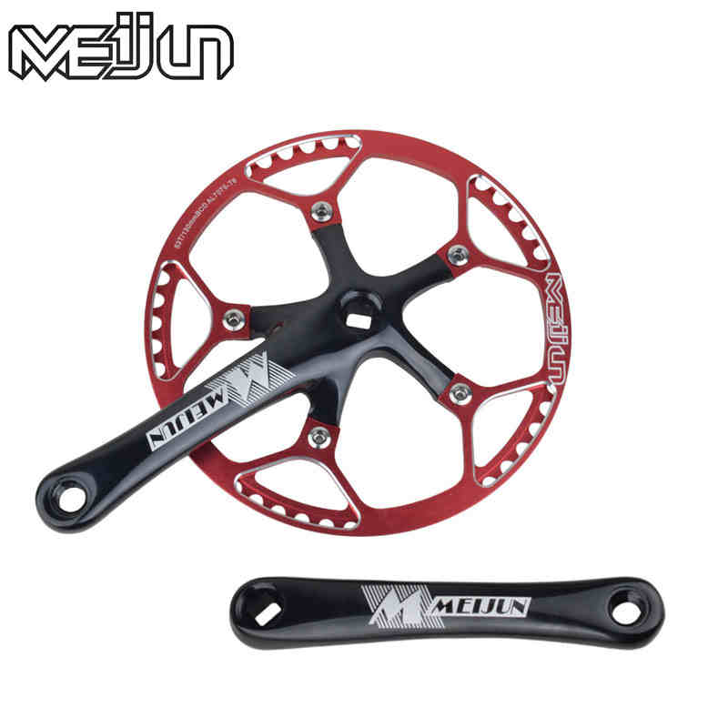 MEIJUN Mountain Bike 170mm 45T 47T 53T Crankset Aluminum Alloy Folding Bike Chain Wheel Crank Set west biking bike chain wheel 39 53t bicycle crank 170 175mm fit speed 9 mtb road bike cycling bicycle crank