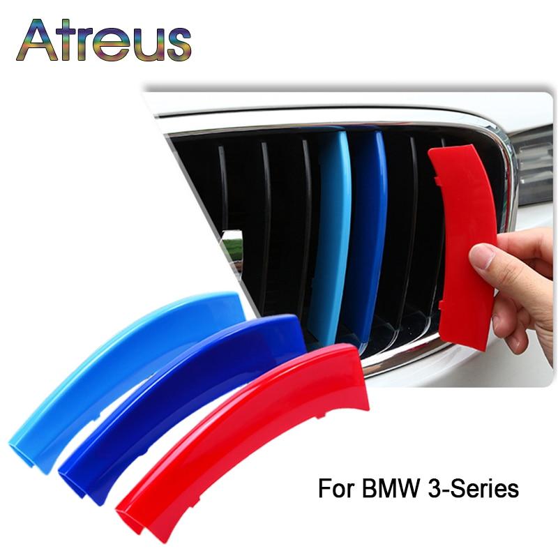 Atreus 3pcs For BMW 3-Series E46 E90 F30 F34 E92 E93 3 Series Motorsport Power M Performance Car Front Grille Trim Strips Cover(China)
