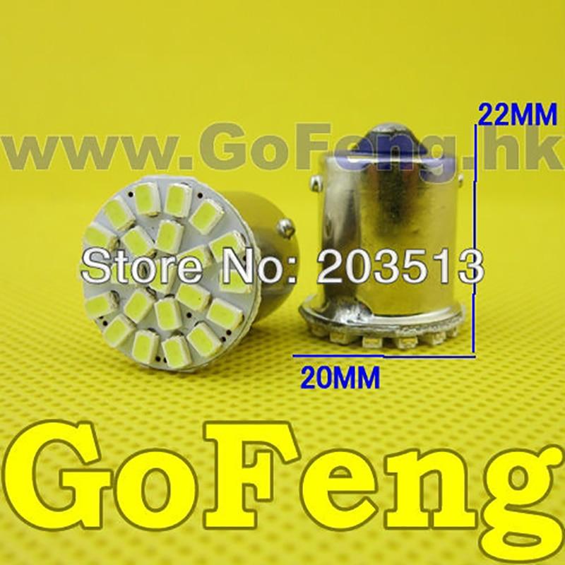 100pcs/lot Car Led 1156 BA15S 22 SMD LEDS smd 22SMD 3020 P21W Turn Signal Reverse Light White Yellow HK post free shipping