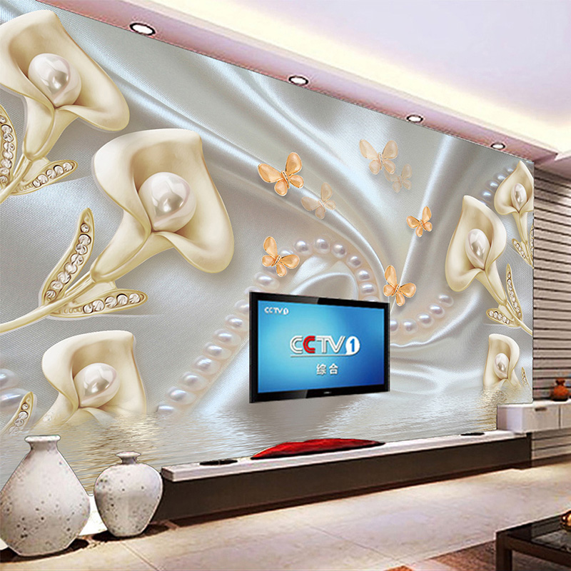 Custom Photo Wallpaper 3D Stereoscopic Calla Flower Diamond Jewelry Pearl Silk Background Decor Mural Wallpapers For Living Room custom baby wallpaper snow white and the seven dwarfs bedroom for the children s room mural backdrop stereoscopic 3d