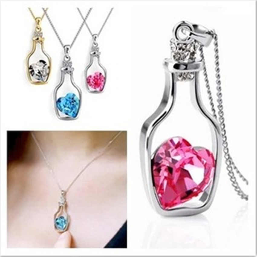 NK712 Shining Crystal Heart Pendant Necklace Women Jewelry Wishing Drift Bottle Necklaces Charms Chain Choker Necklaces Gift