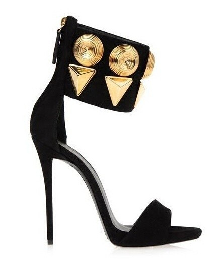 76727acd1 Large Size 10 Hot Selling Black Suede Leather Ankle Cuff Sandals High Heel  Cut-out