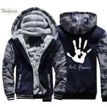 Dark Brotherhood We Know Hand Jacket Men Funny Sweatshirt Coat Thick Fleece Warm Zip up Camouflage Hoodie Hip Hop Streetwear 4XL цена 2017