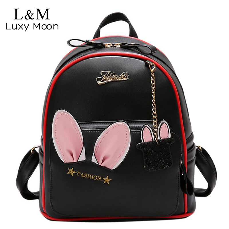 Cute Ears Backpack Female Solid Women PU Leather Korean Backpacks For Teenage Girls School Bags Travel Zipper Bag 2017 XA1152H