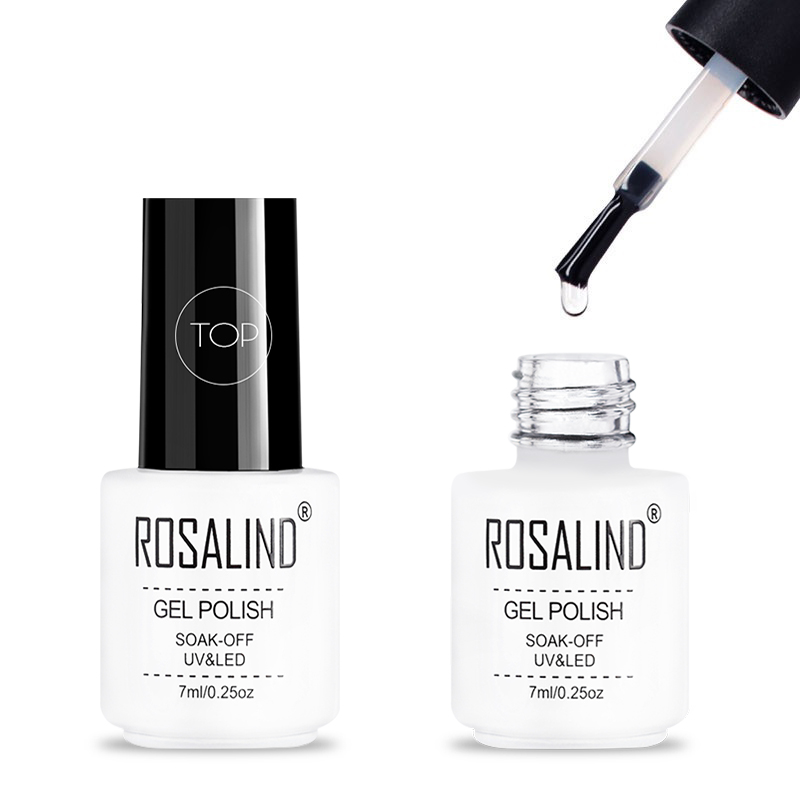 ROSALIND 7ML Long Lasting Almost Flavorless Top Coat Manicure Needed UV LED Nail Cured Gel Polish Soak Off Nail Gel For Top Coat
