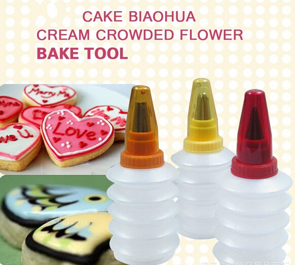 Cookie Decorating Squeeze Bottles Impressive Aliexpress  Buy 3Set Cookie Cake Decoration Tool Icing Design Ideas