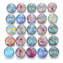 10pcs/lot Mixed Flower Colors & Pattern 18mm Glass Snap Button Jewelry Faceted Fit Earrings Bracelet