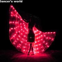 2017 Stafe Performance Prop Women Dancewear Girls DJ Nightclub LED Wings Light Up Wings Belly Dance Wing Costume with Sticks