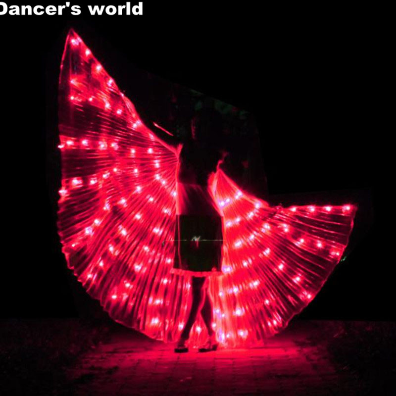 2017 Stafe Performance Prop Women Dancewear Girls DJ Nightclub LED Wings Light Up Wings Belly Dance Wing Costume with Sticks ...