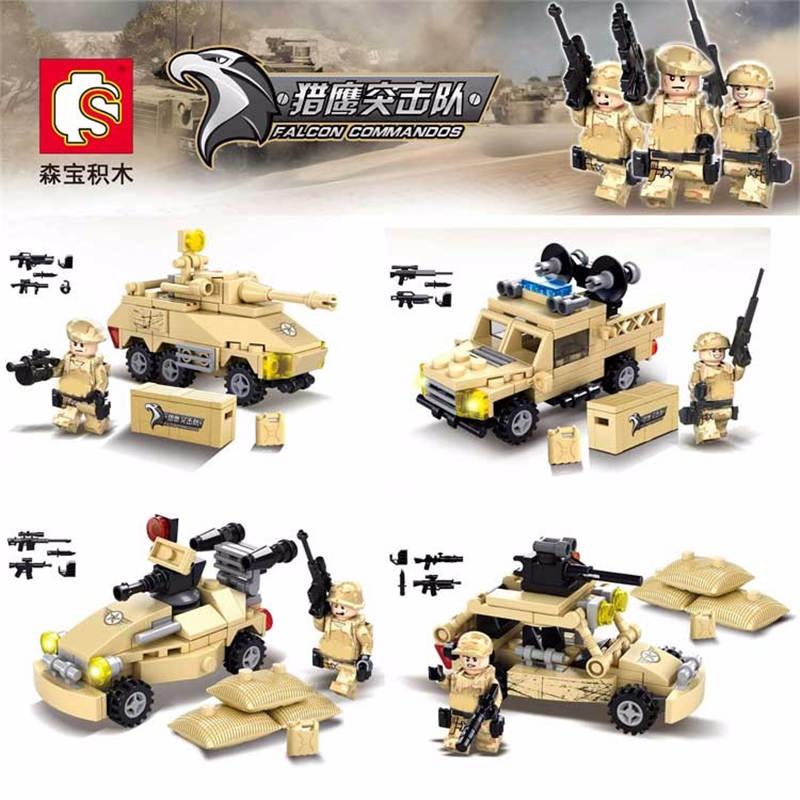 New Mini Desert Falcon Commandos Soldier Figure Bricks Military Weapons Chariot Model Building Blocks Educational Toy For Kids creature commandos