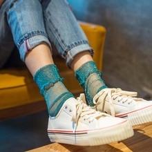 Fashion Women Net Socks Shiny Glowing Silver Silk Socks White Long Female Summer Thin Socks Fishnet Funny Glitter Harajuku Socks