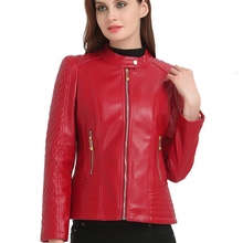 6XL модная женская короткая мотоциклетная красная куртка из искусственной кожи на молнии для женщин, базовые осенние куртки, большие размеры верхней одежды