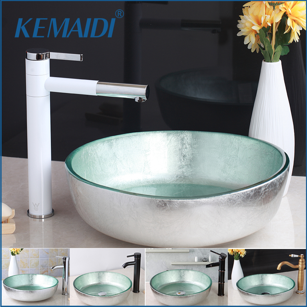 KEMAIDI Bathroom Basin Faucets Set Glass Washbasin Vessel Lavatory Basin Combine Brass Vessel Vanity Tap ORB Bathroom Mixer
