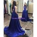 2017 Vestidos de Baile Azul Royal Frisada Alta Pescoço Longo Robe De Sarau 2017 Custom Made Vestidos de Festa de Noite Das Mulheres Para graduação