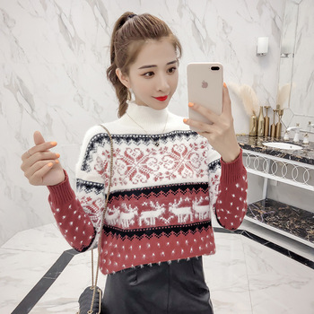 Sweaters Fashion 2018 Women Knitted Christmas Sweater Pullover Warm Autumn Winter Ladies Jumper Sweaters Coat Female Clothing 1
