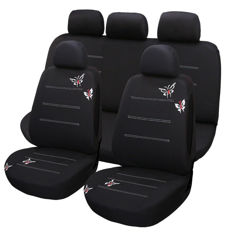 WeSheU Car Seat Cover Universal Fit Car Styling butterfly Design Auto Seat Cushion Full Set Interior Accessories Seat Cover car styling elastic full seat covers universal fit front back seat protector cushion cover auto chair interior accessories