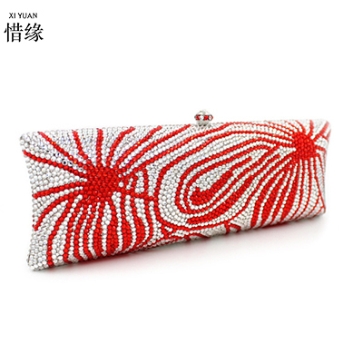 XIYUAN BRAND women red 2017 luxury European and American Style full diamond evening messenger bag Personality red clutch wallet