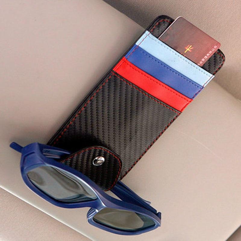 Multifonction M Logo Couleur Parasol lunettes de Soleil Clips Titulaire de la Carte de Crédit de L'argent Bill Poche De Stockage pour BMW E46 E39 E90 E36 F30 F10