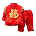 Año nuevo Festival de Primavera Chino Tradicional Ropa de Los Niños Exquisito Bordado Del Collar Del Mandarín de Algodón Acolchado Ropa de Los Cabritos