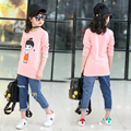 2017 Spring Autumn Girls T-shirt Baby Kids O-neck Cartoon Printed Tops Children Clothes Girls Clothing Tees T-shirt For Girl