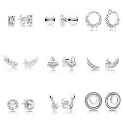 9 estilo 925 brincos de prata esterlina foguete pena asas com brincos de cristal completo para festa de casamento feminino jóias