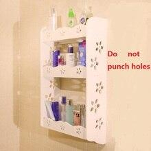 Wathroom Wall Racks Cosmetics Storage Shelves 3 Layer No Punching DIY Wood Waterproof Space Utilization Shelf