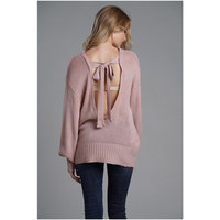 2019 Winter Fashion Sweater women knit sexy backless bow OL Loose Plus size Pullover Knitwear Pink Sweaters Woman top Free Ship