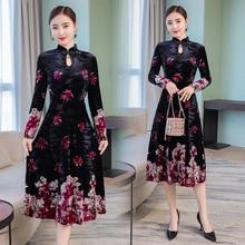 2018 Autumn winter clothes for women velvet dress plus size large xxl xxxl 4xl party midi black dresses elegant retro Chinese