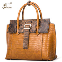 Qiwang Brand Luxury leather Lady Handbags Designer Tote Bag High Quality Genuine Leather Handbags Women Fashion Shoulder Bags