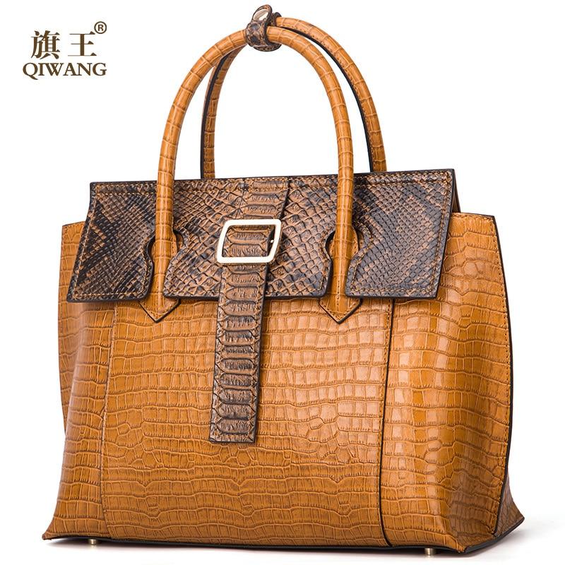Qiwang Brand Luxury Leather Lady Handbags Designer Tote Bag High Quality Genuine Leather Handbags Women Fashion Shoulder Bags