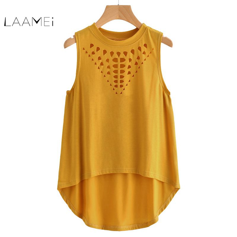 Laamei Loose   Tank     Top   2018 New Arrival Summer Hollow Out Round Neck Women Slim Fit Clothing Yellow Casual Cotton   Tank   Tee   Top