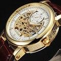 2016 SEWOR Moda Casual Oco Projeto Famosa Marca Montre Homme Relógios Homens Marca De Luxo Automático do Relógio de Pulso de Ouro Preto
