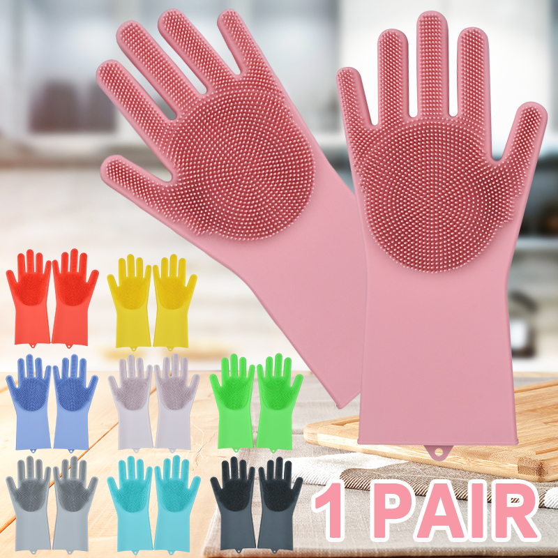 Silicone Dishwashing Gloves Bathroom Kitchen Cleaning Gloves Housework Magic Gloves Cleaning For House Insulation Tools 6