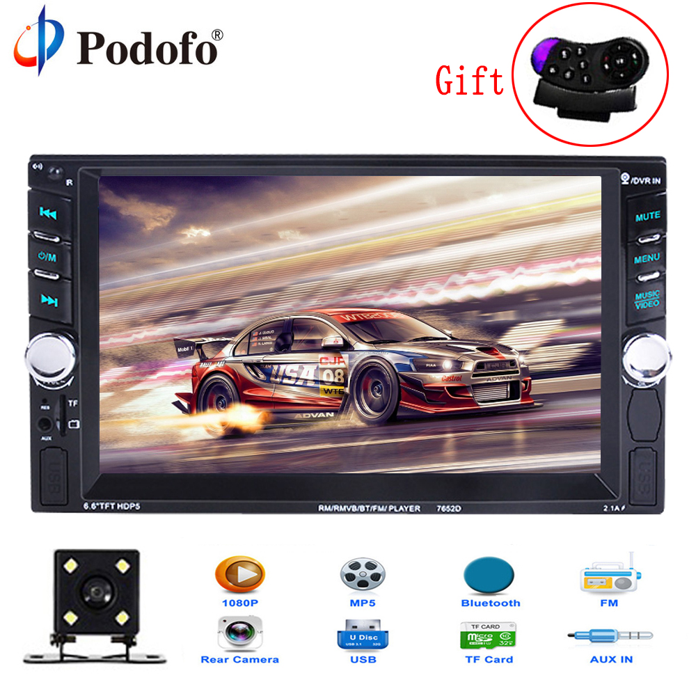 Podofo 2 Din Car Radio 6.6 LCD Touch screen Car audio 12v auto radio player with bluetooth FM rear view camera autoradio Stereo podofo 2 din car radio 6 6 lcd touch screen car audio 12v auto radio player with bluetooth fm rear view camera autoradio stereo
