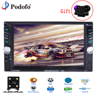 Podofo 2 Din Car Radio 6.6 LCD Touch screen Car audio 12v auto radio player with bluetooth FM rear view camera autoradio Stereo