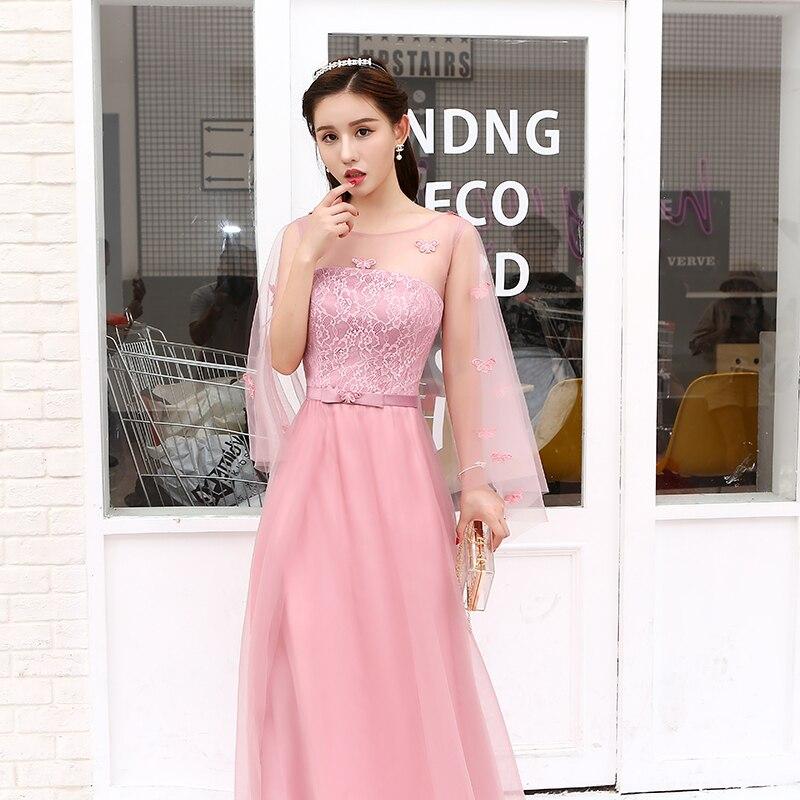 U-SWEAR 2019 New Arrival Women Pink   Bridesmaid     Dresses   Mesh Soft Cloak Butterfly Appliqued Lace Chiffon Female   Bridesmaid     Dress
