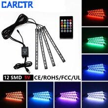 CARCTR светодиодный Автомобильные фары зарядных порта USB для автомобиля декоративные светильники RGB DJ музыки звук Световой Интерьер окружающего света 20 пульта дистанционного управления Управление красочный
