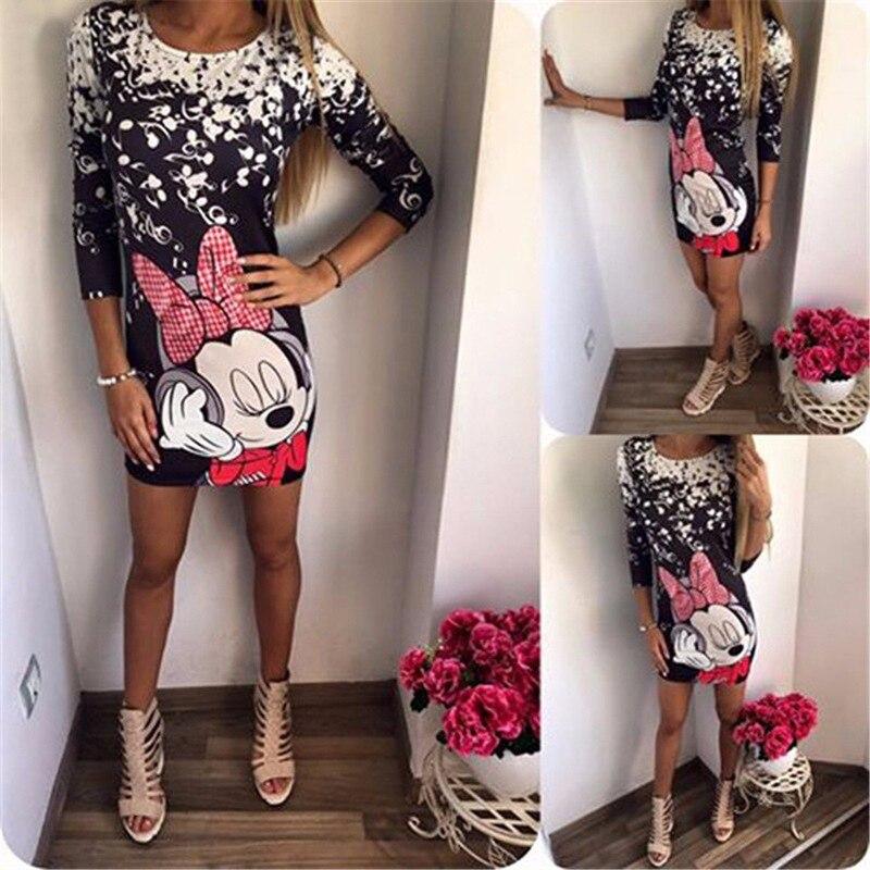 Plus Size Women Cartoon Print Slim Dress Short Sleeve 2019 New Fashion Casual bodycon Mini Summer Print Dresses Women Vestidos 4