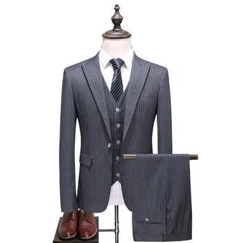 (Jacket+Vest+Pants) 2019 Spring Fashion Stripe Grey Single Button Men Suits Classic Suits Men's Business Wedding Suit Men Blazer jacket vest pants 2017 autumn high quality jacquard men suits fashion embroidered suits men s business wedding suit men s 5xl