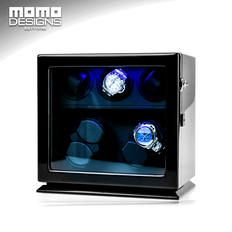 Wooden Watch Winder 7 Automatic watch chain winder LED light watch storage box JAPAN mabuchi motor 2016 latest luxury 5 modes german motor watch winder yellow spray paint wooden white pu leater inside automatic watch winder