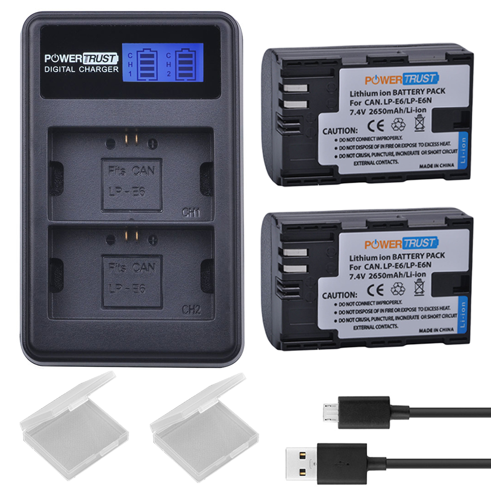 2Pcs <font><b>LP</b></font>&#8211;<font><b>E6</b></font> LPE6 <font><b>LP</b></font> <font><b>E6</b></font> Camera Batteries + LCD USB Dual Channel <font><b>Charger</b></font> for Canon EOS 60D, 70D, 5D Mark II, 5D Mark III, 5D Mark