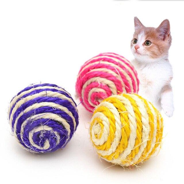 Colore Casuale Pet Giocattolo Gatto Sisal Palla Gattino Teaser Giocare Chew Scra