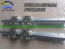Высокое качество 2 шт. Sbr16-l1500mm Линейный Направляющие + 4 шт. SBR16UU Линейное движение Подшипника Блоков (можно вырезать любой длины)