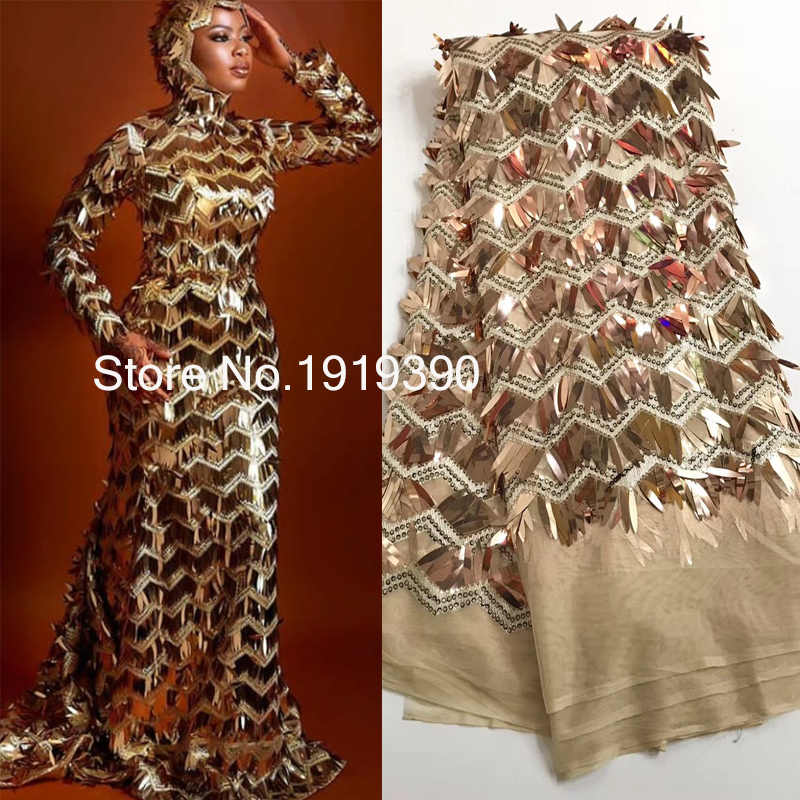 High Quality gold African Mesh Lace Fabric sequins Embroidered Tulle Lace Fabric mesh material For Wedding dress J20632