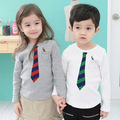 Sz100~130 boys tops tees girls t shirts children clothing kids long sleeve T-Shirts   white  grey ties