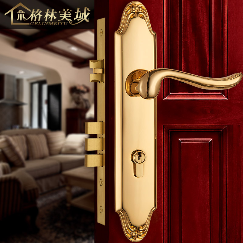 European copper door lock full copper room door lock room bedroom solid wood door lock villa door lock ceramic lock the door when indoor european ball lock hold hand lock copper core ss